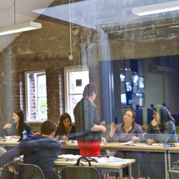 ISI Dublin English Languge School, teacher through glass, classroom (1)